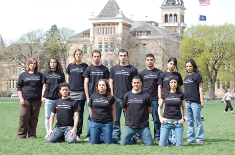 USU students model their T-shirts.